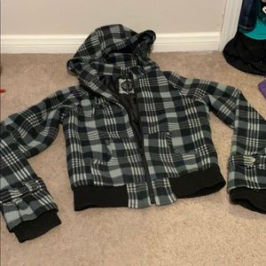 Black and gray plaid zip up hooded, lined jacket